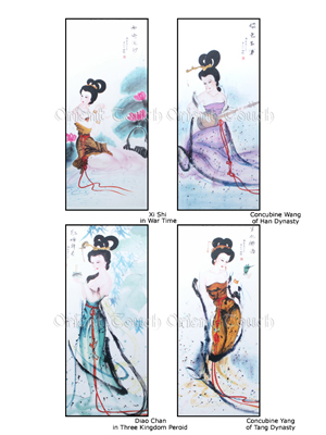 Chinese Woodcut Painting -<br>Four Ancient Chinese Beauties