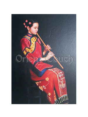 Chinese Woodcut Painting -<br>A Dolce Flutist
